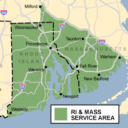 Service area of Rhode Island Home Improvement Inc.